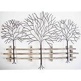 Delightful Wall Art   Metal Wall Art Picture   Winter Tree Scene
