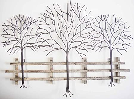 Wall Art - Metal Wall Art Picture - Winter Tree Scene: Amazon.co.uk ...