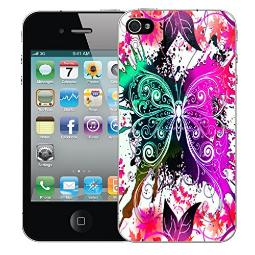 Mobile Case Mate iPhone 4 Silicone Coque couverture case cover Pare-chocs + STYLET - Pink Dragonfly pattern (SILICON)