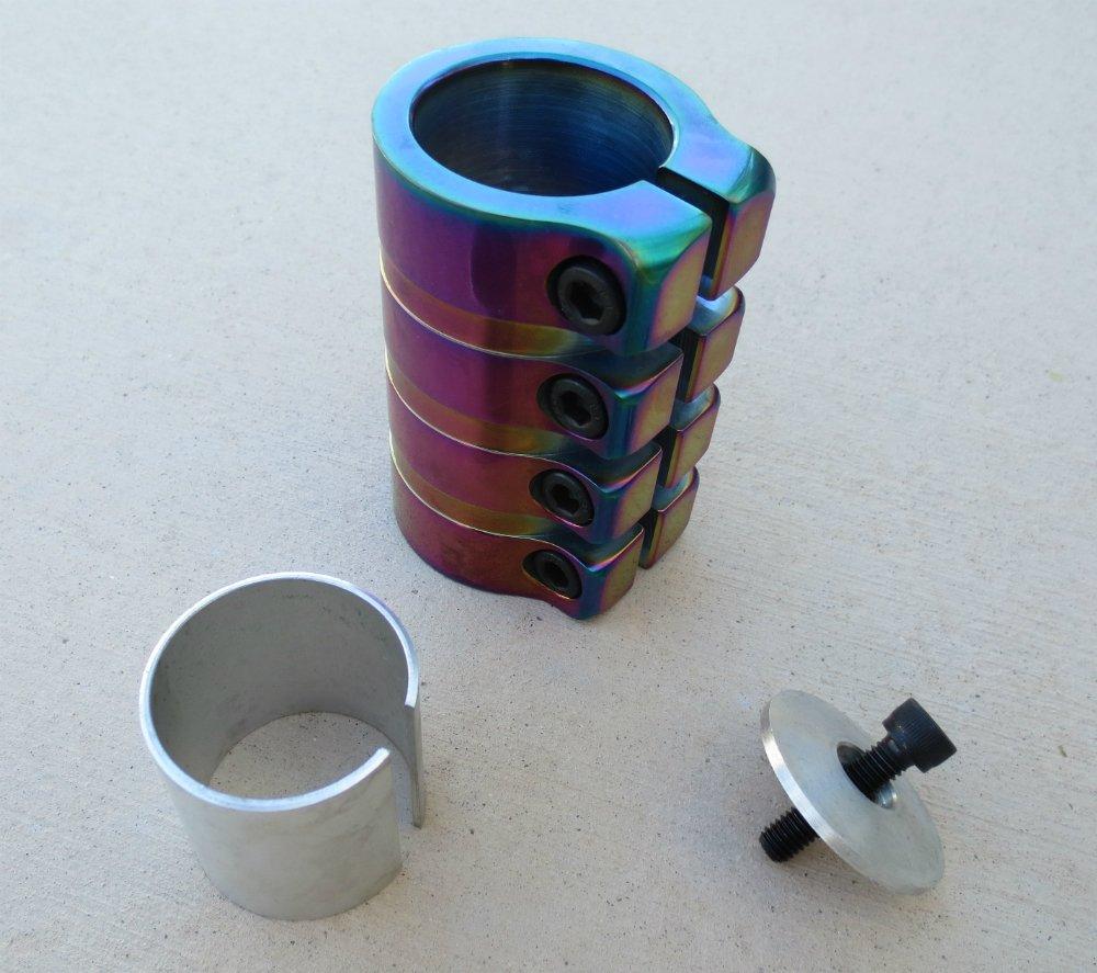 SCS Scooter Clamp 4 Bolt Rainbow Metallic (oil slick, neo chrome)
