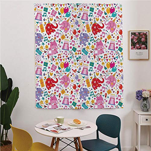 (Birthday Decorations for Kids Blackout Window curtain,Free Punching Magic Stickers Curtain,Children Party Theme Animals Elephant Hearts and Balloons,for Living Room,study, kitchen, dormitory, Hotel,Mu)