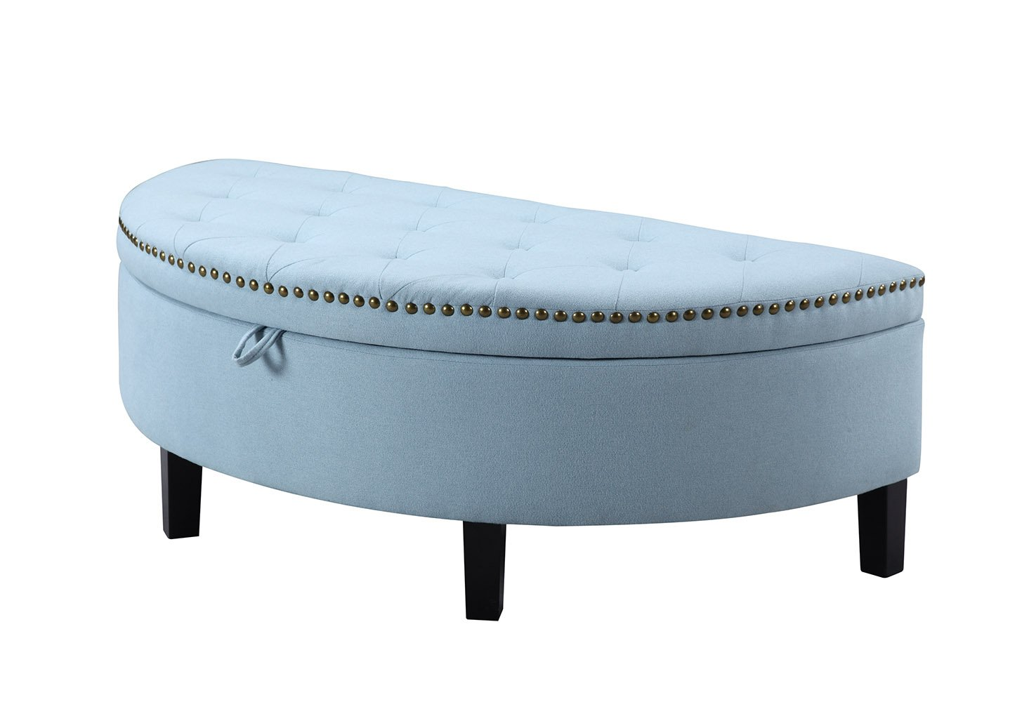 Amazon.com: Iconic Home Jacqueline Tufted Blue Soft Brushed Linen Half Moon Storage  Ottoman With Gold Nail Head Trim: Kitchen U0026 Dining