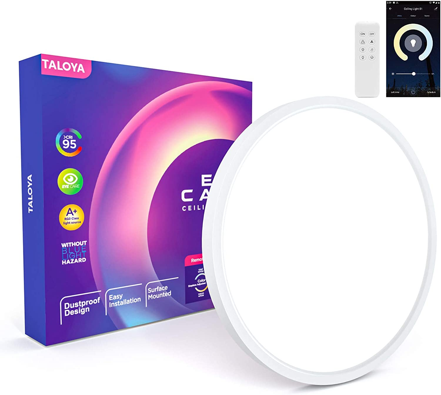 Taloya Smart WiFi Ceiling Light (12 inch-20W), Compatible with Alexa,Google,Remote Controller. Full Color Temperature Fixture for Bedroom Living Room
