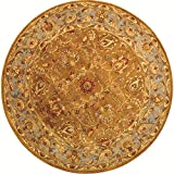 Safavieh Heritage Collection HG812A Handcrafted Traditional Oriental Brown and Blue Wool Round Area Rug (3'6'' Diameter)