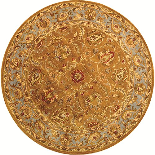 Safavieh Heritage Collection HG812A Handcrafted Traditional Oriental Brown and Blue Wool Round Area Rug (3'6