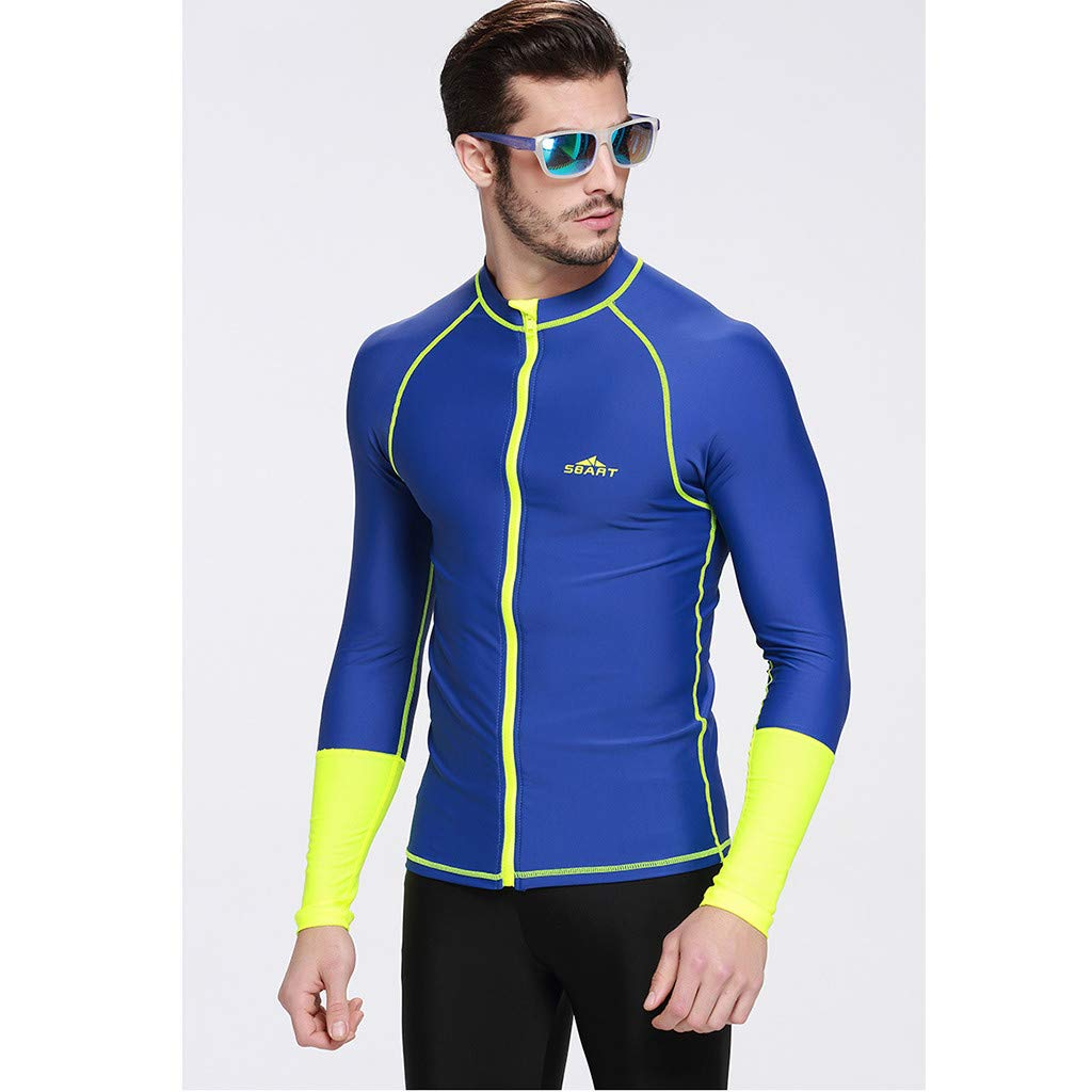 Allywit Men's Wetsuit Top Jacket, Neoprene Jacket Long Sleeve Front Zip Wetsuit Shirt for Diving Surfing Snorkeling Rafting Blue by Allywit (Image #2)