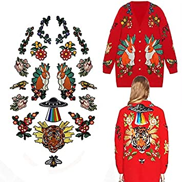 Image Unavailable. Image not available for. Color  19 Piece Embroidery  Fashion Large Rabbit Tiger Patches of Sweater Clothing ... 295661f26710