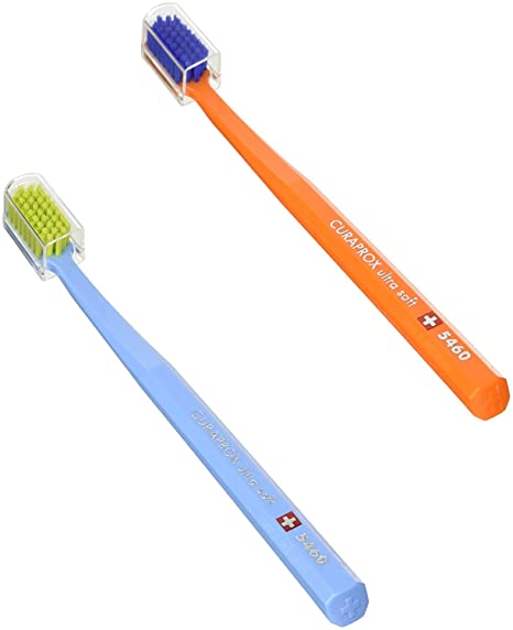 Curaprox CS 5460 Ultrasoft - Cepillo de dientes manual, 2 unidades, modelo surtido