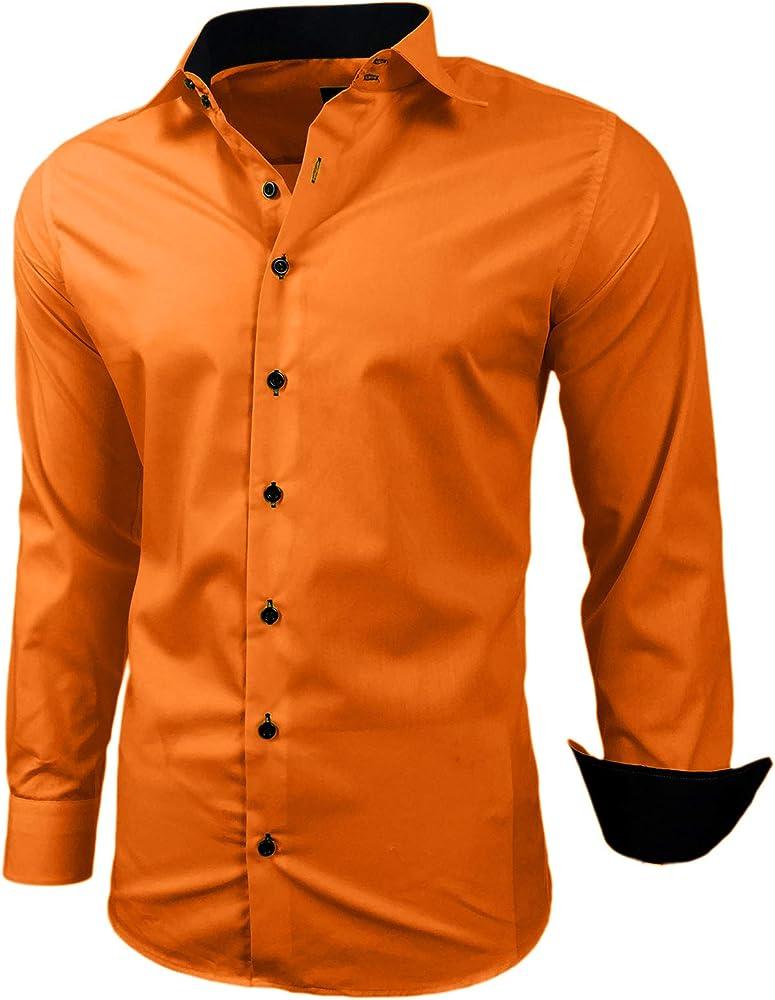 Baxboy - Camisa de manga larga para hombre, de corte ajustado, fácil de planchar, para trajes, trabajo, bodas, tiempo libre, R-44 naranja XXXXXL: Amazon.es: Ropa y accesorios