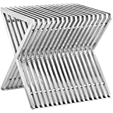 Modway Press Stainless Steel Side Table, Silver