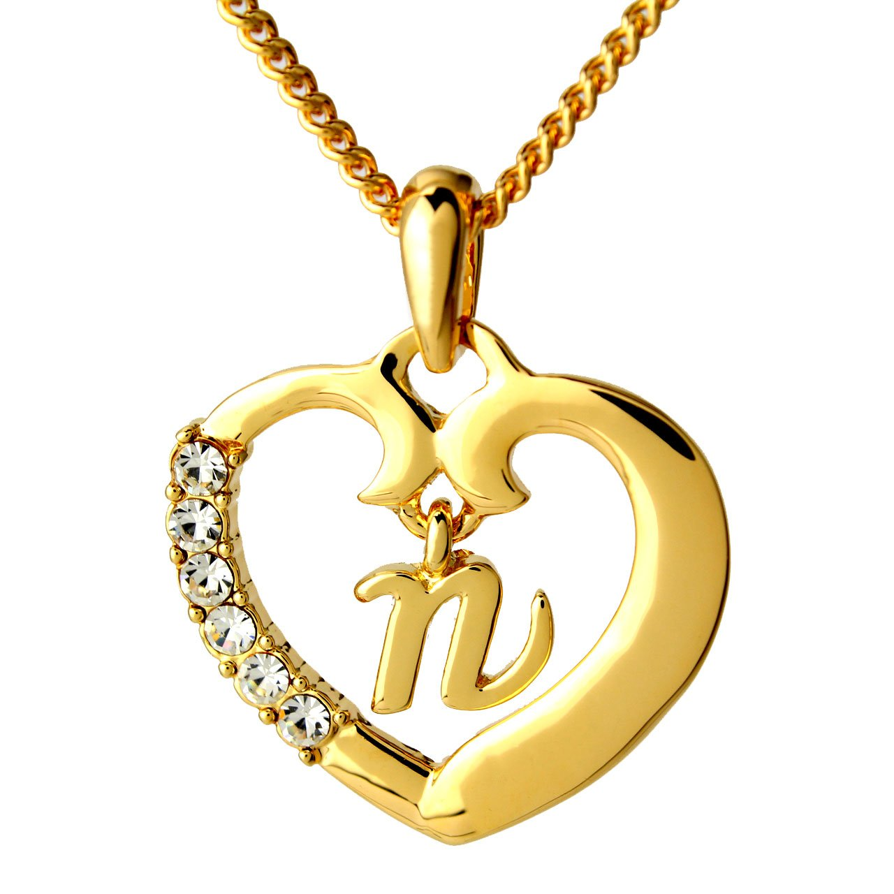 Zacria Name Necklace Initial N - 18K Gold Plated Letter Pendant Chain