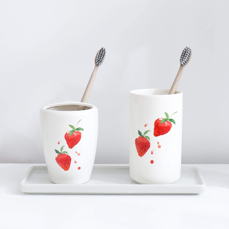Airmoon Mini Ceramics Handmade Couple Toothbrush Holder Stand for Bathroom Vanity Countertops Pack of 2 Pink