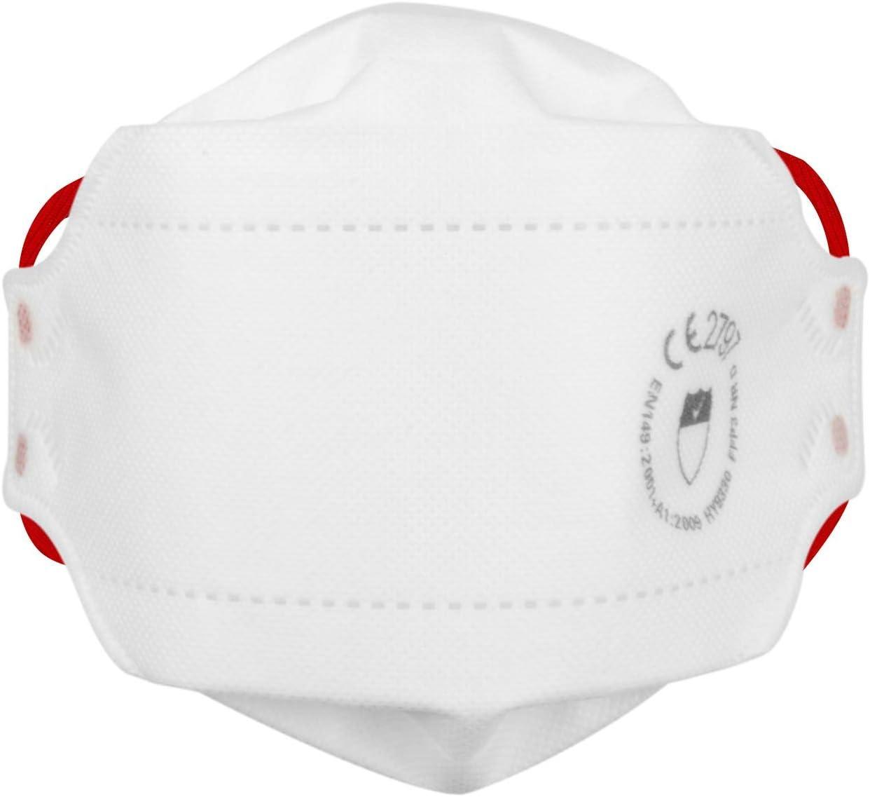 FFP3 Respirador Cara Máscaras Sin Exhalation Válvula - En 149 : 2001 Y A1:2009 Cumple, Se Puede Doblar, Blanco 4 Punto Diadema Con Acolchado Forro para Mayor Comodidad Y Seguridad (Paquete De 5)