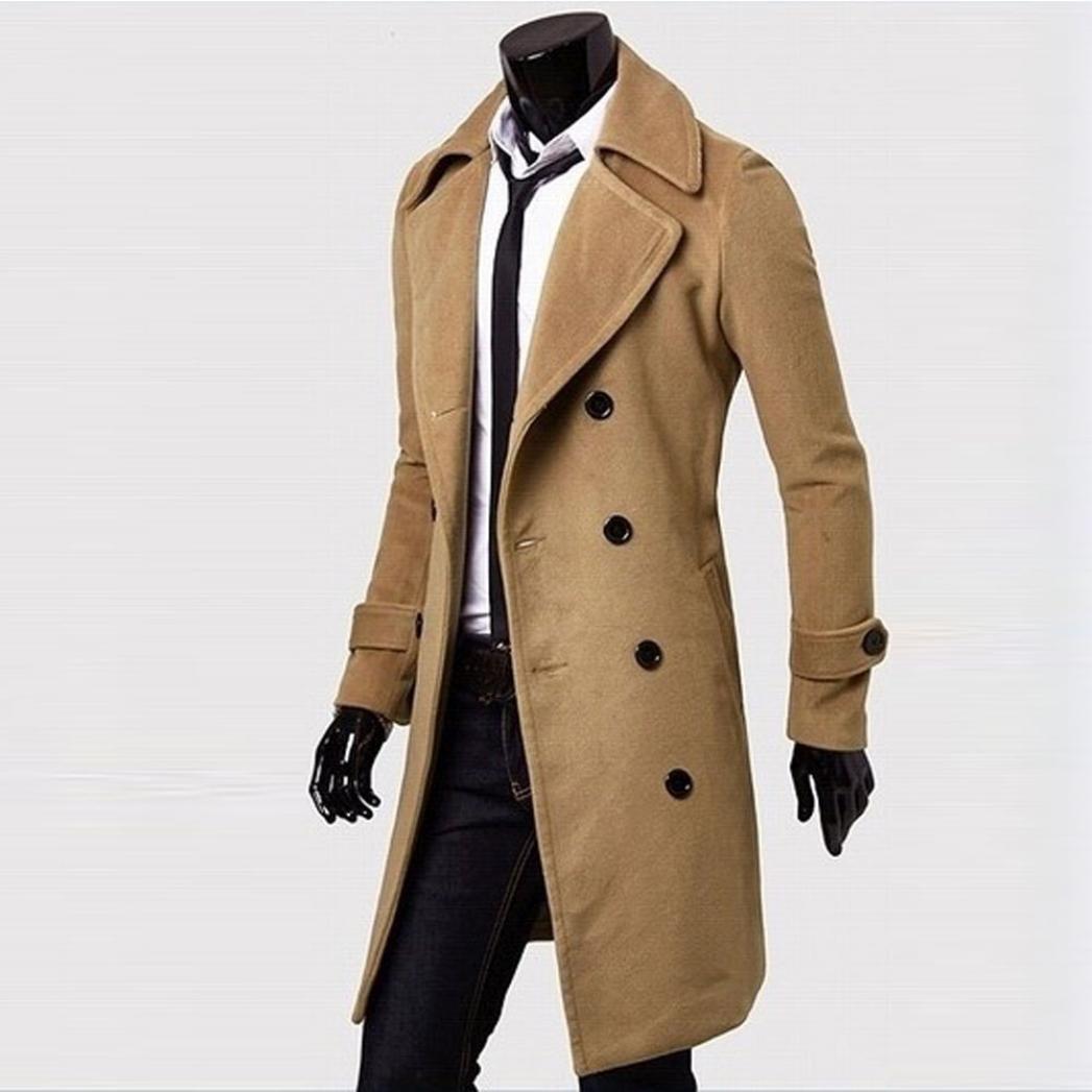 Hiroo Parka Uomo Cappotto Lungo Inverno Trench Coat Doppio Breasted ... c13faf590f2