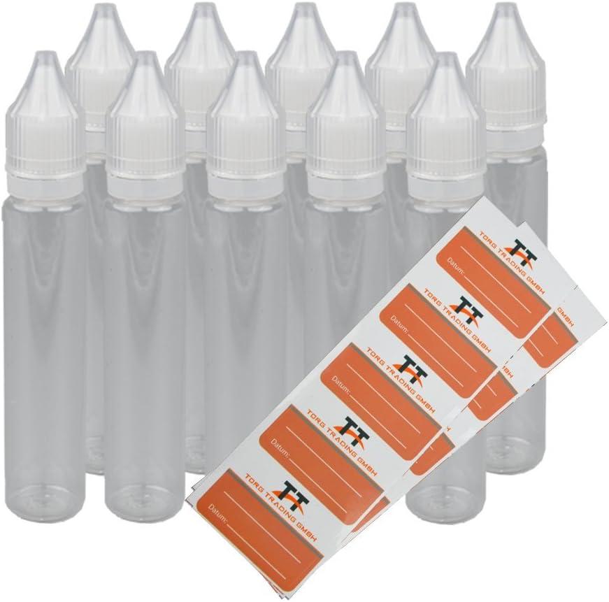 bouteilles de dosage 10 x 30 ml Stylet bouteilles O Flacon compte-goutte Unicorn Bottle avec 10 /étiquettes Dropper bouteilles Bouteilles en plastique Pet Bouteille