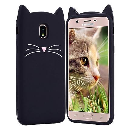 HopMore Gato Funda para Samsung Galaxy J7 2017 Silicona Motivo 3D Divertidas TPU Gel Dibujo Kawaii Carcasa Samsung J7 2017 Ultrafina Slim Case ...