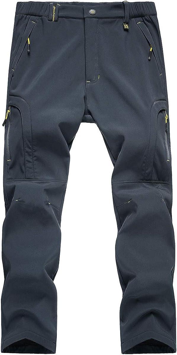 TREKEK Mens Warm Ski Hiking Pants Softshell Fleece Lined Winter Outdoor Windproof Waterproof Trousers