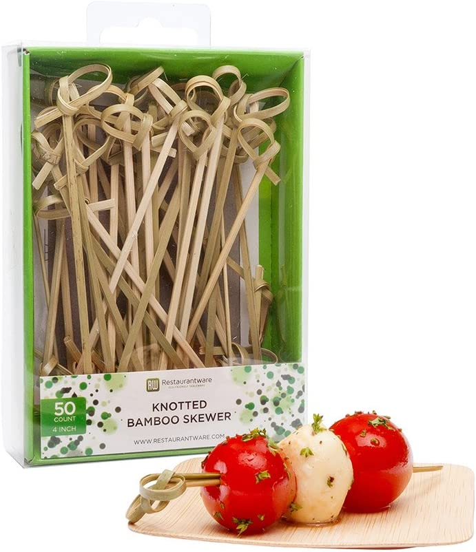 4 Inch Appetizer Picks, 500 Knotted Knot Skewer Picks - Looped Knot, For Food Or Drinks, Bamboo Cocktail Skewers, Twisted End, Looped End - Restaurantware