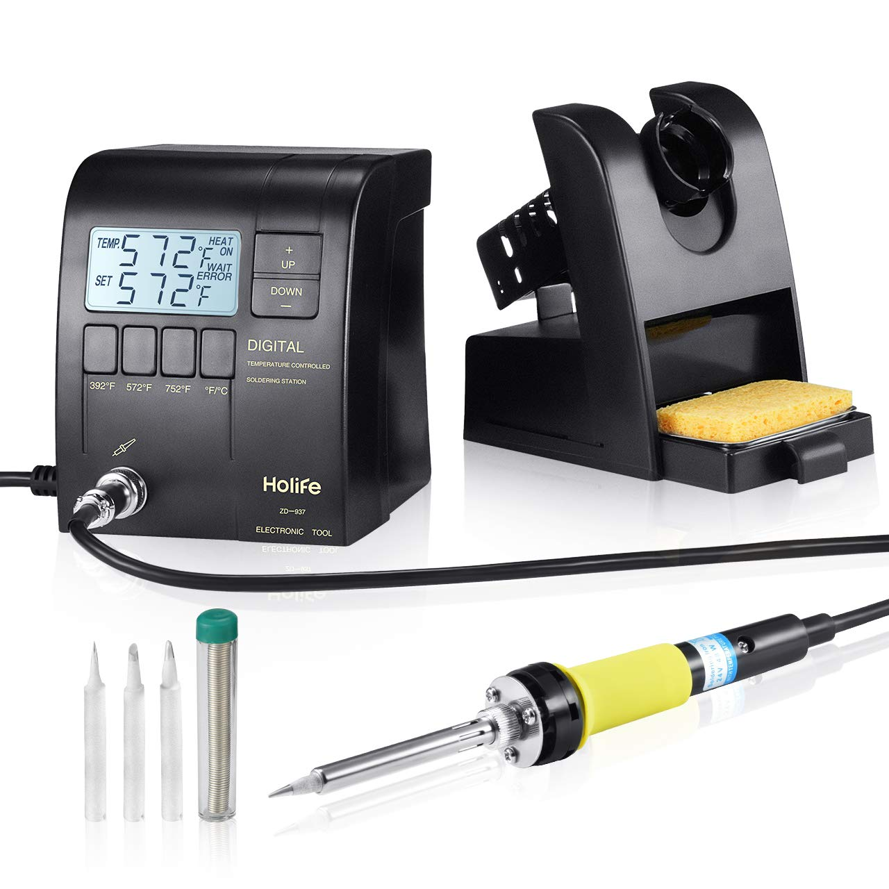 HoLife Digital Display Soldering Iron Station with ON/OFF Switch, Adjustable Temperature from 302℉ to 842℉, Solder Holder with Cleaning Sponge,℃/℉ Switch, 3 Pcs Soldering Iron Tips, Solder Wire, Black