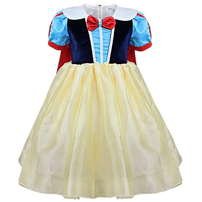 iEFiEL Vestidos de Princesa Disfraz de Fiesta para Niña Vestido Infantil Carnaval Azul y Amarillo 2