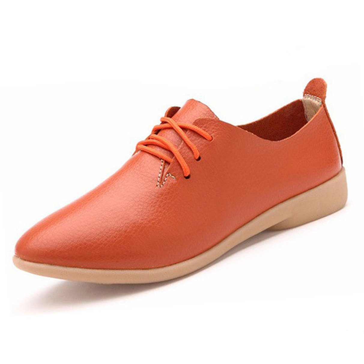 York Zhu Oxford Shoes Women, Lace up Pointed Toe Casual Shoes, Women Loafers Shoes