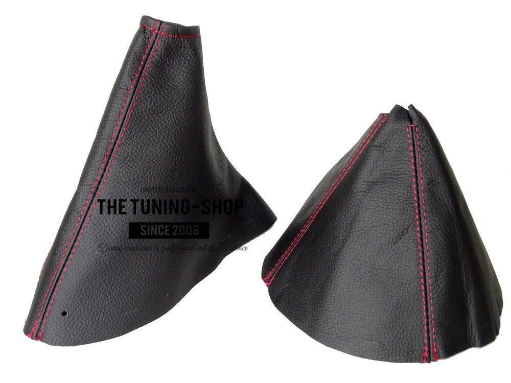 The Tuning-Shop Ltd for Mazda Mx-5 Mk3 NC 2005-09 Shift E Brake Boot Black Italian Leather Red Stitching