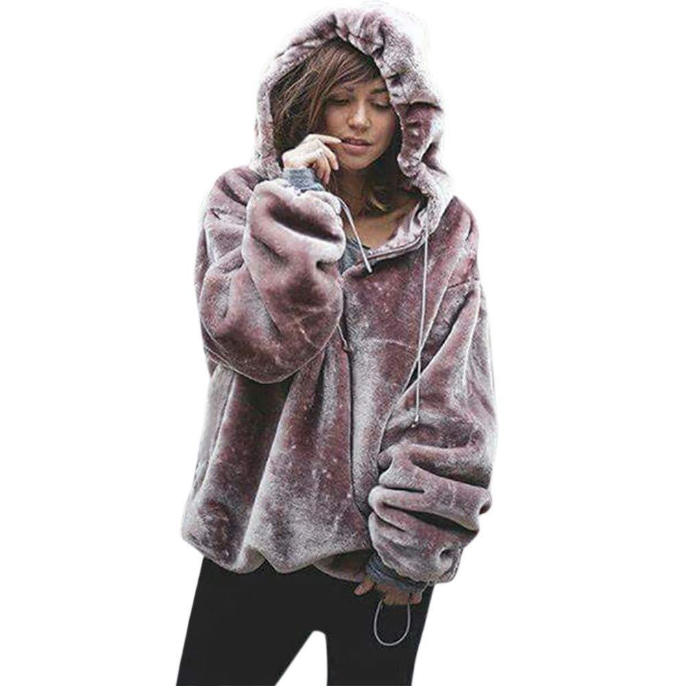 Yvelands Damen Tops Bluse Fluffy Pullover Warm Outwear Lange Hülsen-T-Shirt Übergröße Mantel