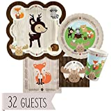 Woodland Creatures - Baby Shower or Birthday Party Tableware Plates, Cups, Napkins - Bundle for 32