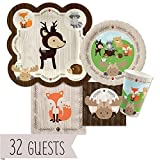 Big Dot of Happiness Woodland Creatures - Baby Shower or Birthday Party Tableware Plates, Cups, Napkins - Bundle for 32