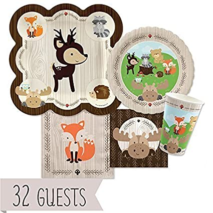 Big Dot Of Happiness Woodland Creatures   Baby Shower Or Birthday Party  Tableware Plates, Cups