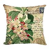 Retro Sweet Flowers Cotton Linen Decorative Throw Pillow Case Cushion Cover C