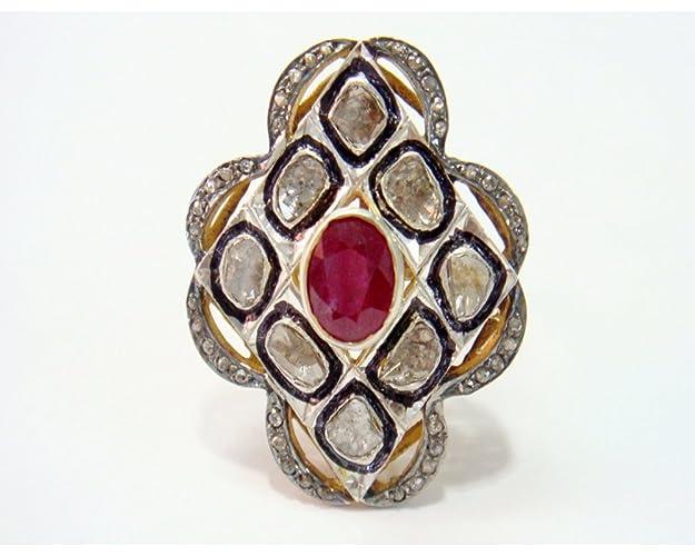 f3afcc8258ddf Amazon.com: Designer Polki Rose cut Diamond & Ruby Vintage & Antique ...