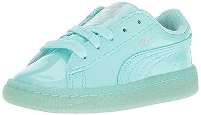 992a29b84ebb PUMA Kids' Basket Patent Iced Glitter Inf Running Shoe Aruba Blue, 5 M US