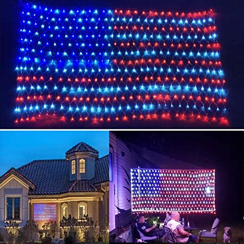 2020 New Upgraded Super Bright American Flag Lights, 6.54ft x3.28ft Outdoor Waterproof Led Flag Net Light of The United States for Memory Day, Independence Day, National Day, 4th July