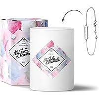 MY JOLIE CANDLE • Bougie Parfumée avec Bijou Surprise à l'Intérieur • Cadeau : Bracelet • Parfum Barbe à Papa • Cire Naturelle 100% Végétale