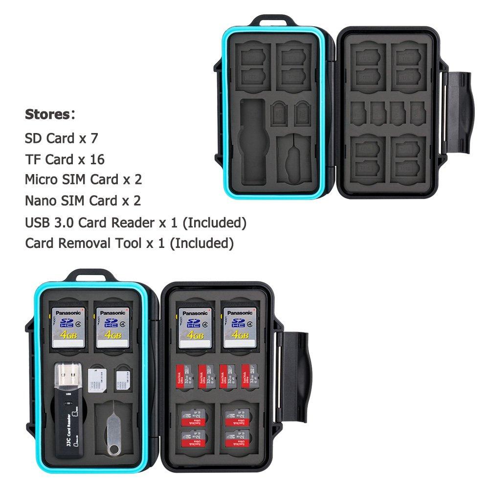 JJC Estuche Impermeable para tarjetas de memorias: 16 x tarjetas Micro SD SDHC SDXC + 10 x tarjetas SD SDHC SDXC con USB 3.0 Lector Tarjetas y Mosquetó n