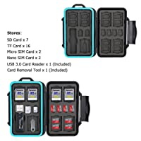 JJC Memory Card Case 27 Slots Carrying Water-Resistant Holder Storage SD SDHC SDXC Micro SD TF Cards with USB 3.0 Memory Card Reader for SD Micro SD & Carabiner & Card Removal Tool