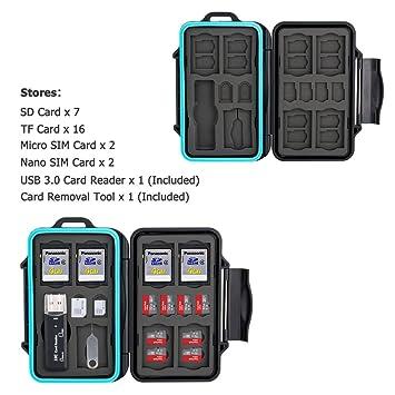 JJC Estuche Impermeable para tarjetas de memorias: 16 x tarjetas Micro SD SDHC SDXC + 7 x tarjetas SD SDHC SDXC con USB 3.0 Lector Tarjetas y ...