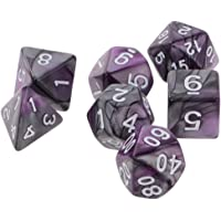 MagiDeal 7PCS Polyhedral Dice for Dungeons and Dragons DND MTG RPG D20 D12 D10 D8 D6 D4 Games Purple