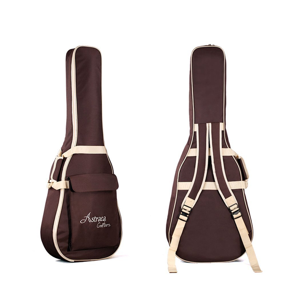 High Quality 40 41 Inch Acoustic Guitar Waterproof Thicken Padded Bag Advanced Guitar Case with Double Strap and Outer Pockets (Coffee) chuangsheng