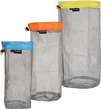 5 Pieces Nylon Mesh Drawstring Storage Bags Mesh Stuff Sacks Lightweight Storage Bags for Camping Travel Hiking Outdoor Sports 5 Sizes