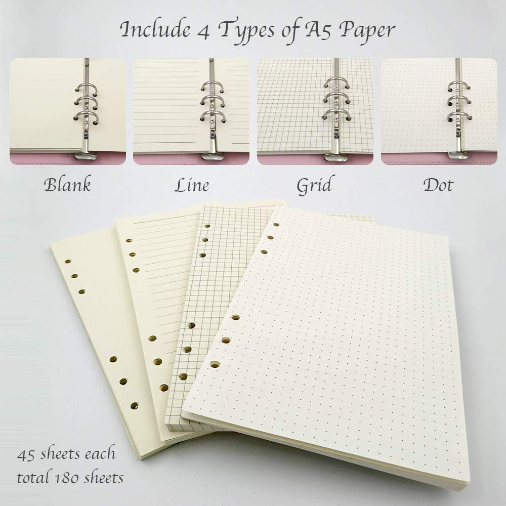 Amazon.com : Total 180 Sheets A5 Planner Hardcover 6-Ring ...