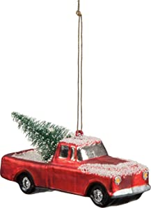 Primitives By Kathy 4.25 Inches Long Glass Truck hanging Ornament