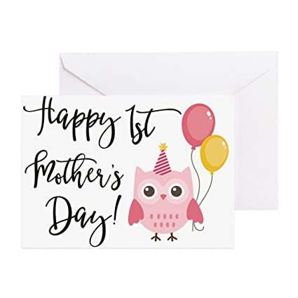 Amazon cafepress happy 1st mothers day pink owl greeting cafepress happy 1st mothers day pink owl greeting cards greeting card note card m4hsunfo