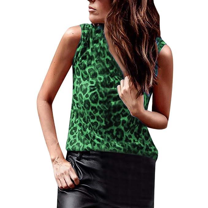 22c70d1caf3d Laimeng_World 2019 Women Leopard Print Vest, Ladies Sexy Slim Sleeveless T- Shirts Tops(