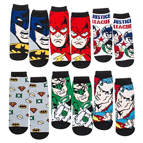 Justice League Anti-Slip Cozy Baby Booties for Boys, Cartoon Superheroes Newborn Friends, Socks for Toddlers, 6 Pack from ABGNY