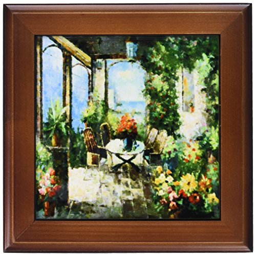 3dRose ft_80514_1 Picture of an Italian Villa Painting-Framed Tile, 8 by 8-Inch