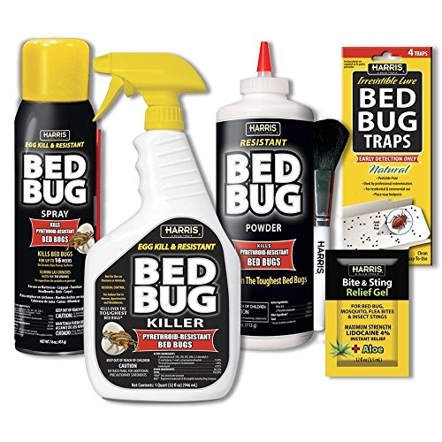 Treatment Home Bed Bugs (Harris Bed Bug Killer Value Bundle Kit - 32oz Bed Bug Killer, 16oz Aerosol Spray, 4oz Silica Powder w/Brush, 4-Pack Bed Bug Detection Glue Traps and Bed Bug Bite Relief Gel)