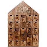 Christmas Wooden Advent Calendar House with 24 Drawers in Shabby Chic