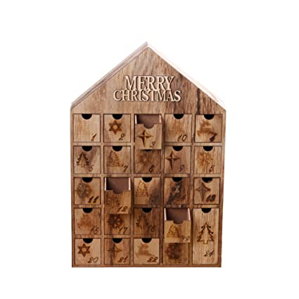 Amazon Com Christmas Wooden Advent Calendar House With 24 Drawers